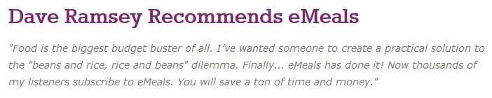 Dave Ramsey endorses eMeals