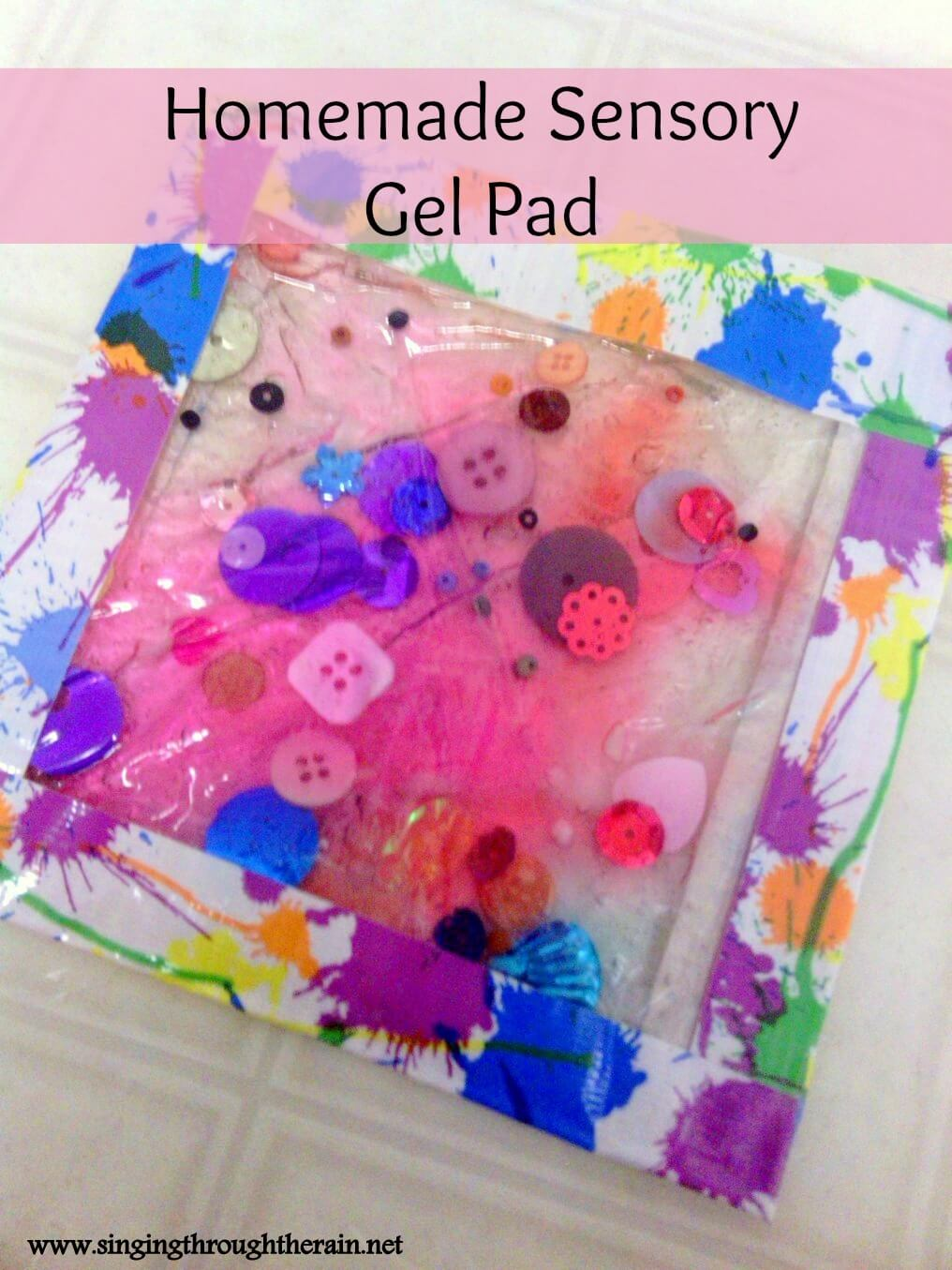 Sensory Toys Autism : Homemade sensory gel pad singing through the rain
